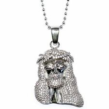 "Silver Plated 1.5"" CZ Mini Jesus Piece Pendant w 32"" Franco Chain High Quality"
