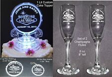 30 Pc Las Vegas Lighted Wedding Cake Topper  Acrylic + Key Chain Favors + Flutes