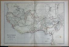 1882 LARGE ANTIQUE MAP - WESTERN AFRICA, BRITISH, FRENCH SETTLEMENTS