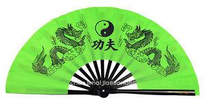 """Chinese Tai Chi Wushu Martial art Combat Green Dual Black Dragon """"Kung Fu"""" fan"""