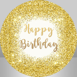 Bokeh Gold Glitter Happy Birthday Round Backdrop Cover Circle Background Banner
