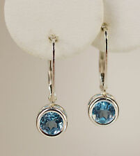 BEENJEWELED GENUINE MINED LEVERBACK BLUE TOPAZ EARRINGS~STERLING SILVER~USA~6MM