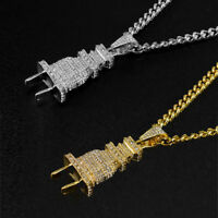 Unique Mens Iced Out Bling Power Plug Pendant Hip Hop Cuban Necklace Chain Gift