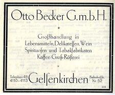 Otto Becker Gelsenkirchen aliments vin café historiques publicitaires 1925