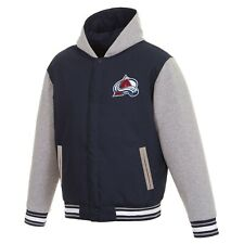 Nhl Colorado Avalanche Hoodie Jh Design Two Tone Reversible Fleece Hooded jacket