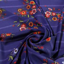 Tessuto al metro per Abbigliamento Georgette Floreale WILMA Blu Riga Gessato