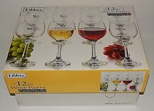 12 Libbey Wine Party 10.5oz  Clear Glasses Stemware Storage Box Bar Case Dozen
