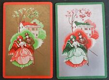 Victorian Couple & House Gold/Silver Gilt - Pair Vintage Swap Playing Cards