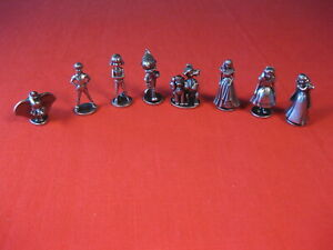 MONOPOLY DISNEY GAME PIECES TOKENS SET OF 8 PEWTER