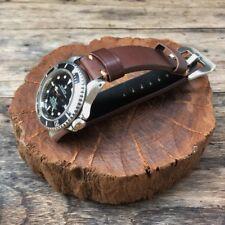 Genuine Leather Watch Strap 20mm Dark Brown Hand Made Super Thick Vintage Style