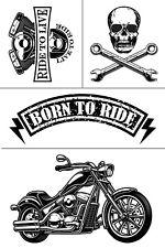 """Reusable Adhesive Silkscreen Stencil 12""""x 18"""" Born to Ride DIY Motorcycle Skull"""