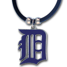 Detroit Tigers Rubber Cord Necklace w/ Logo Charm Licensed MLB Jewelry