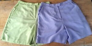 Bette & Court Shorts Sz 14 Purple &Green Golf 2 Pairs  Women Lightly Pre-owned