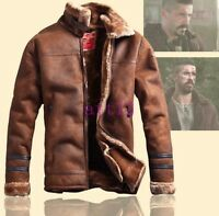 Stand Thick Fur Lining Collar Hot Mens Jacket Vintage Bomber Coat Winter Flight