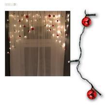 Lichtervorhang mit 30 Weihnachts-Kugeln rot/gold, Lichterkette 70 LED warmweiß