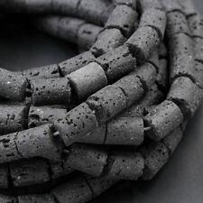 "Large Lava Tube Cylinder Beads Raw Porous Natural Black Lava Stone 16"" Strand"