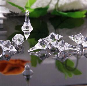 Wholesale Clear Acrylic Crystal Beads Pendant Wedding Chandelier Curtain Decor