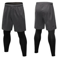 Men's Compression Pants Basketball Football Training Spandex two pieces Tights