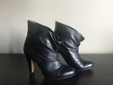MOSCHINO Black Leather Ankle Boots, Size US10/EU40