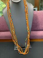 Vintage Multi 5  Strand Orange Assortment Seed Bead Bohemian Long Necklace 36""