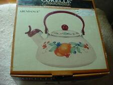 CORELLE COORDINATES ABUNDANCE WHISTLING TEA KETTLE 2.2 QUART ENAMEL ON STEEL