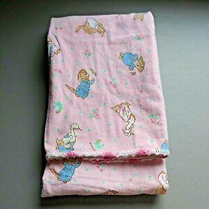 """VTG Mother Goose Baby Blanket Flannel Handmade Pink Stitched Hem 33"""" x 41"""" Soft"""