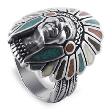 Men's Silver Turquoise Coral Gemstone MOP & Onyx Southwestern Ring Size 7