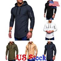 Fashion Hooded Long Sleeve Hoodie Tops Zip Muscle T-Shirt Mens Tee Casual Blouse