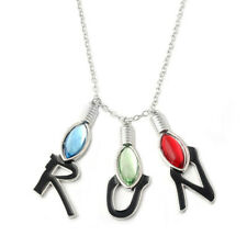Stranger Things Necklace Crystal Bulb Letter RUN Pendants Charm for Women Gifts
