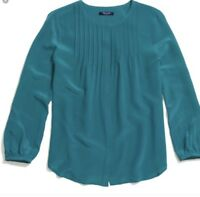 Madewell Women's Small Teal Blue Silk Ballad Blouse Top Popover Pleated