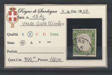 FRANCOBOLLI 1857 SARDEGNA 5 C. VERDE GIALLO OLIVASTRO A/6139