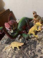 Vintage Toy Dinosaur Lot Of 6 Tyrannosaurus Brontosaurus Spinosaurus Rubber