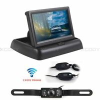 "Wireless Car Rear View 4.3"" Foldable Monitor & Reverse Camera Night Vision Kit"