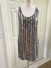 NWT I.N.C. Mini Dress Silver Sequins Shiny Shimmer  Party Dress Size 8