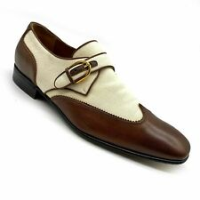GUCCI Ivory Linen Brown Leather Wingtip Single Monk Strap Shoes Size 8. US 8.5.