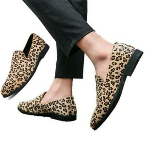 Mens Leopard Suede Slip on Loafers Casual Driving Moccasin Gommino Shoes Plus Sz