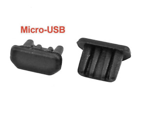 10x ANTI DUST STOPPER PLUG for MICRO-USB PORT BLACK SILICONE UNIVERSAL PHONE