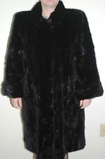 Real Mohagony Black Mink Fur Section Swinger / Coat