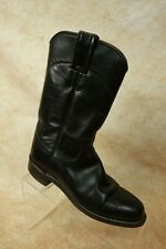 Justin Ladies Black Leather Pull On Roper Western Cowboy Boots Womens Size 4.5B