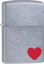 """Zippo """"Red Heart"""" Street Chrome Finish Lighter, Full Size, 29060"""