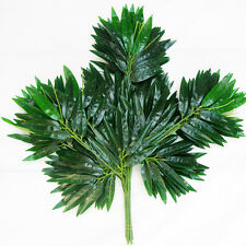 2Pcs Artificial Plastic Green 40 Leaves Fake Bamboo Leaf Plant Home Bonsai Decor