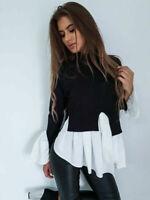 Womens Puff Sleeve Frill Hem Jumper Ladies Casual High Neck Tops T-Shirt Blouse