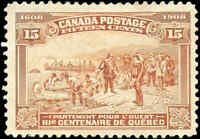 1908 Mint H Canada F+ Scott #102 15c Quebec Tercentenary Issue Stamp