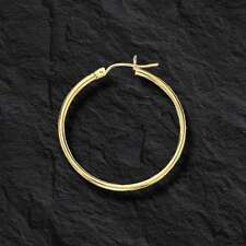 Fashion 10k Yellow Gold 2.0mm x 30mm Round Shiny Runway Tube Hoop Earrings