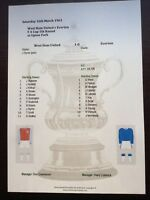 1962-63 West Ham United v Everton FA Cup 5th Round matchsheet