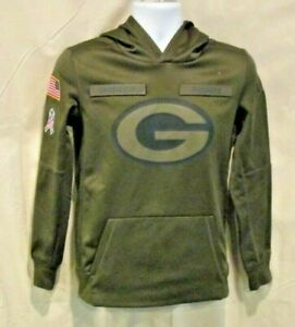 Green Bay Packers Hoodie Salute The Troops Size Youth Large Nike On Field