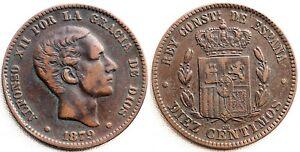 España-Alfonso XII. 10 centimos 1879. Barcelona. MBC+/VF+ Cobre 10 g. Escasa asi