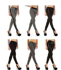 Markenlose Damenhosen aus Baumwollmischung mit hoher Bundhöhe