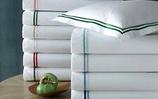 Matouk KING Flat Sheet Essex Cotton Percale WHITE/CHARCOAL A02262