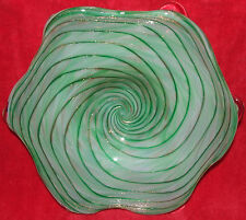 GORGEOUS FRATELLI TOSO MURANO ART GLASS BOWL GREEN & AVENTURINE INCLUSIONS GOLD